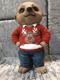 Meerkat ornament wearing christmas jumper