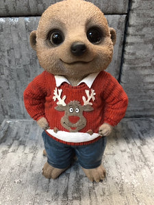 Christmas Meerkat garden ornament
