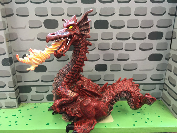 Red fire-breathing dragon