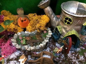 Robin in a fairy garden