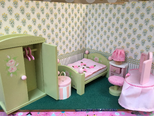 dolls house wooden bedroom