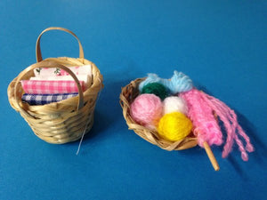 Baskets of wool and fabric