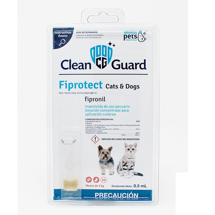 Pipeta Clean Guard Cats Y Dog 0.5 Ml - Aranda