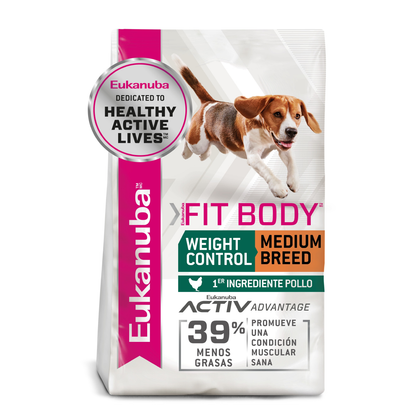 Eukanuba Weight Control Medium Breed 13.6 Kg- Control de Peso Raza Mediana fit body