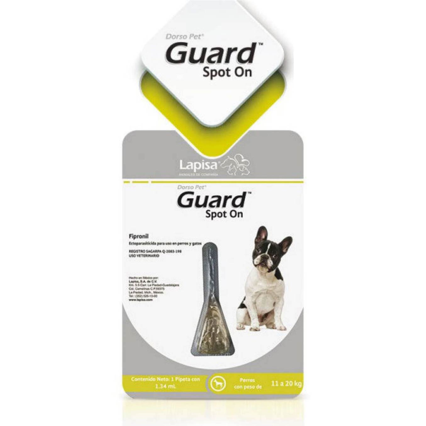 Dorso Pet Guard Spot On Pipeta Antipulgas Piojos y Garrapatas para Perro