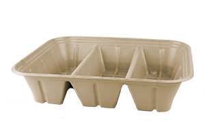 Take Out Half Size (104 oz) Fiber Catering Pan with PLA Lining, 3-Compt