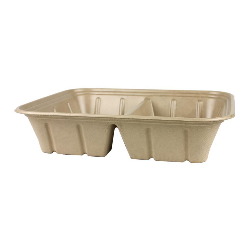 Take Out Half Size (112 oz) Fiber Catering Pan with PLA Lining, 2-Compt