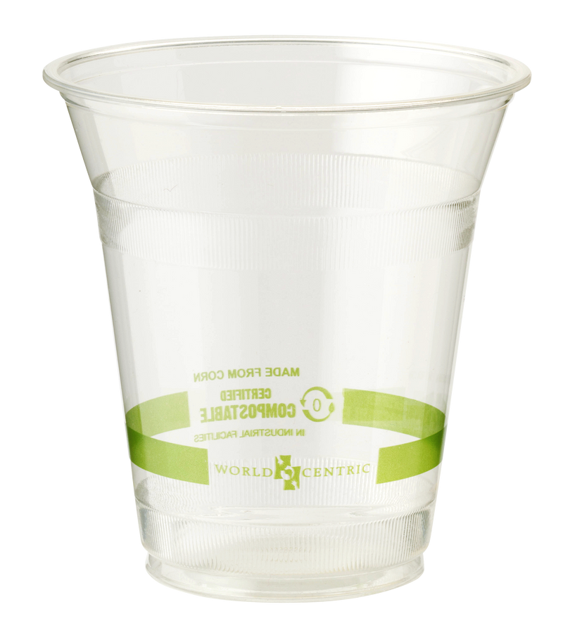 Cups LID PLA - 9Q-24 oz Cold Cups, Straw Hole, Clear