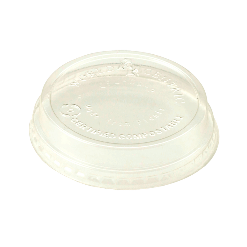 Cups LID PLA - 4-9 oz Cold Cups, Raised, No Straw Hole, Clear