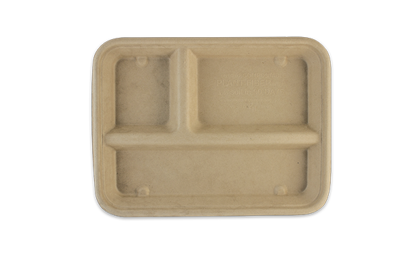 Take Out 9.3x7 16 oz Fiber Tray, 3-Compt