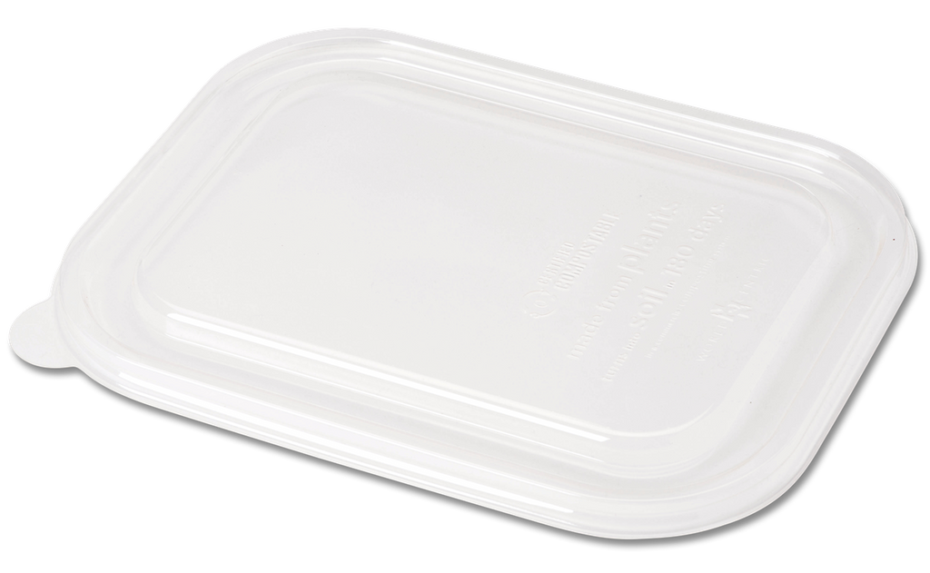 Take Out LID PLA - 20-48 oz Fiber Boxes, Clear