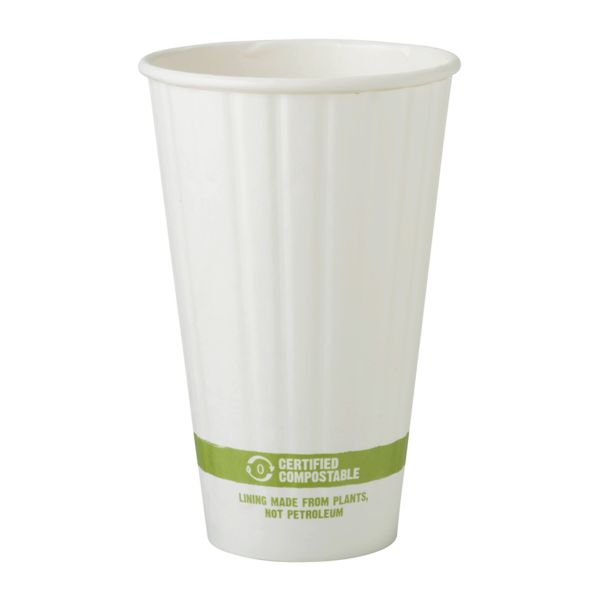 Cups 16 oz Paper Hot Cup, Double Wall, White