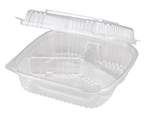 "Take Out Containers: 8x8x3"" Hinged Clamshell, 3-Compt, Clear"