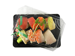 "Take Out 7x5x2"" Black Sushi Box w/ PLA Clear Lid"