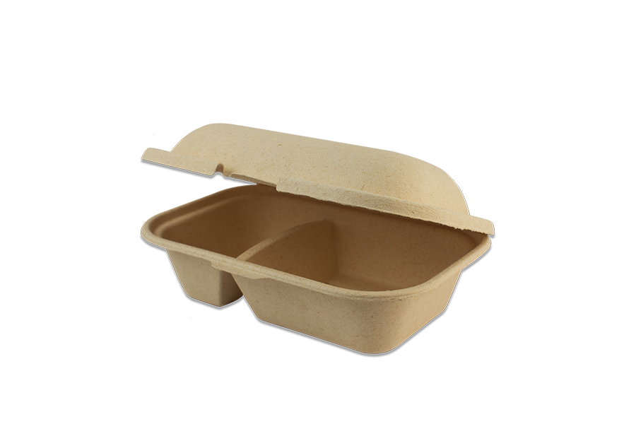 "Take Out Containers: 9x6x3"" Silver Grass Fiber Hoagie Box, 2-Compt"