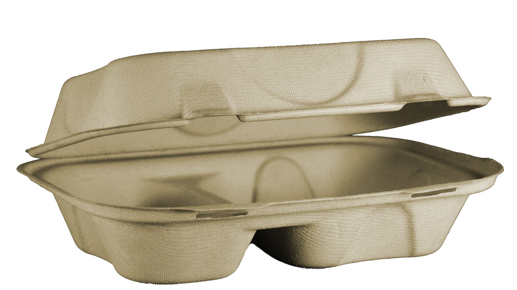 "Take Out Containers: 9x6x3"" Fiber Hoagie Box, 2-Compt"