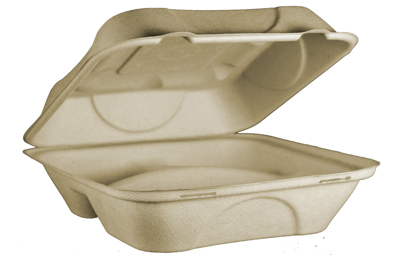 "Take Out Containers: 9x9x3"" Fiber Clamshell, 3-Compt"