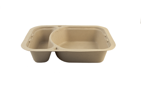 "Take Out Containers: 8.5x6.5x1.75"" (23 oz) Fiber Tray, 2-Compt"
