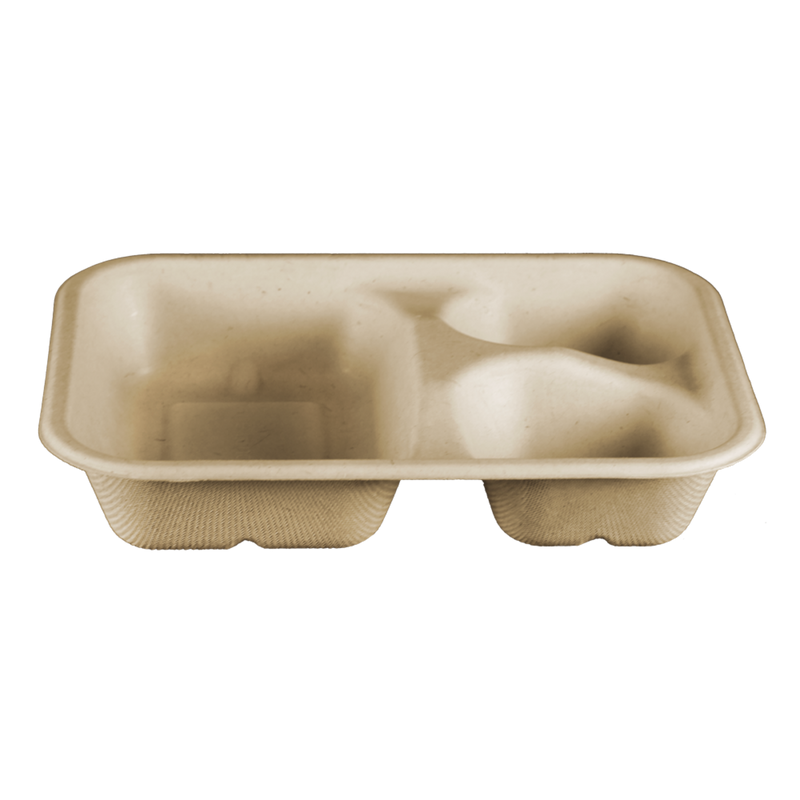 "Take Out Containers: 8x6x1.5"" (15 oz) Fiber Tray, 3-Compt"