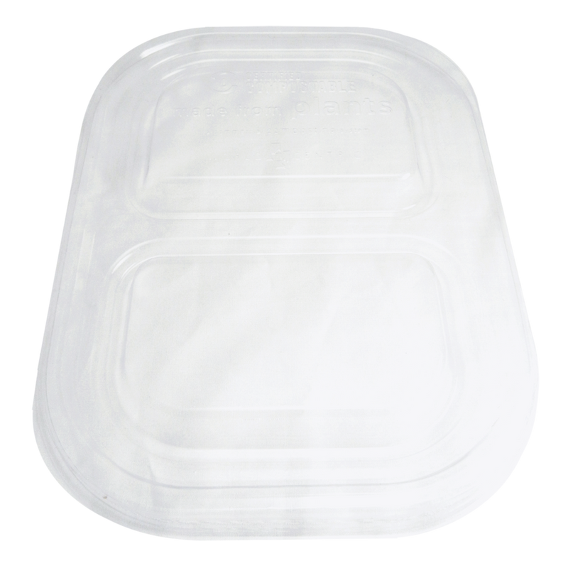 "Take Out LID PLA - 8x6"" Fiber Tray, Clear, 2-Compt"