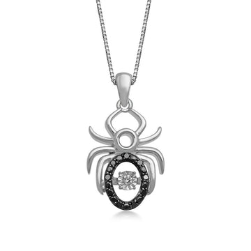 Jewelili Sterling Silver Black and White Diamond Spider Pendant Necklace, 1/10cttw. 18''