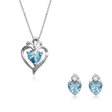 "Jewelili Sterling Silver Heart Simulated Aquamarine and CZ Pendant Necklace and Stud Earrings Set, 18""."