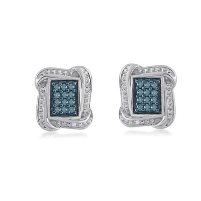 Jewelili Sterling Silver 1/3 cttw Blue and White Diamond Cushion Framed Stud Earrings