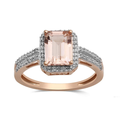 Jewelili 10kt Rose Gold 8x6mm Octagon Morganite 1/5cttw Diamond Halo Ring, Size 6