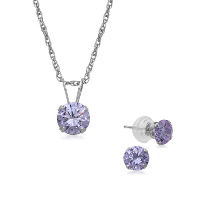 Jewelili 10K White Gold Swarovski Zirconia Pendant Necklace and Earrings Jewelry Set