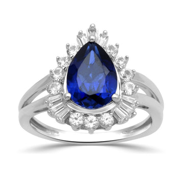 Jewelili Sterling Silver 10x7mm Pear Created Blue Sapphire with Round and Baguette Created White Sapphire Halo Ring, Size 7