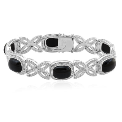Jewelili Sterling Silver Black Cushion-Cut Stone And Round Clear Crystal Bracelet