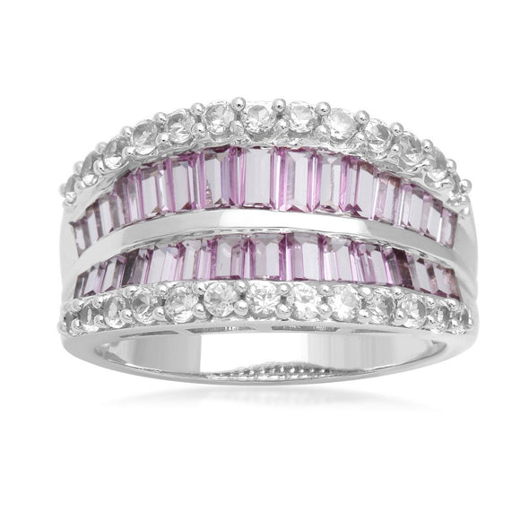 Jewelili 10K White Gold Created Pink And White Sapphire Ring, Size 7