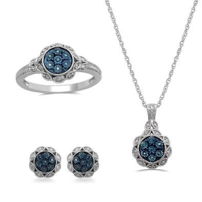 Jewelili Brass Blue And White Diamond Ornamental Cluster Pendant Necklace, Ring And Earrings Box Set, Size 7