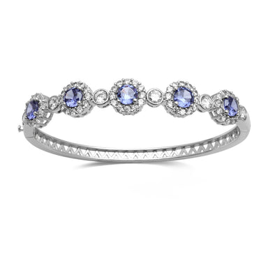 Jewelili Simulated Tanzanite with Cubic Zirconia Bangle in Brass