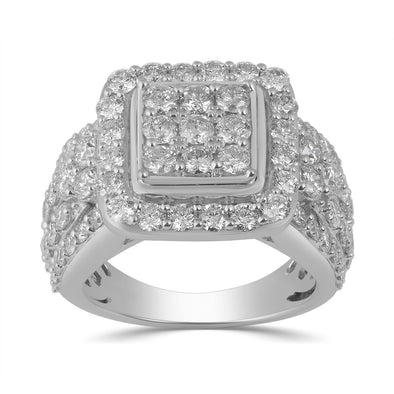 Jewelili 10kt White Gold 3 cttw Round White Diamond Engagement Ring, Size 7