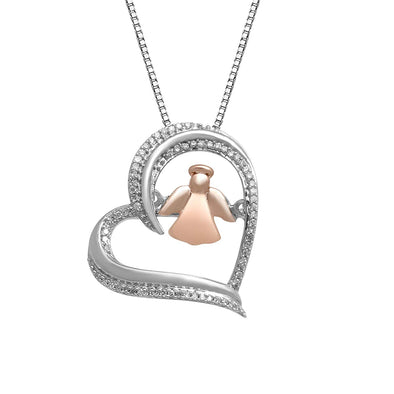 Jewelili 10kt Pink Gold and Sterling Silver 1/10cttw Diamond Dancing Angel Heart Pendant Necklace, 18'' Box Chain