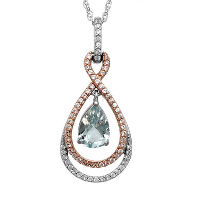 Jewelili Sterling Silver with 10K Pink Gold Created Emerald Pear with Created White Sapphire Twisted Drop Pendant Necklace 18""