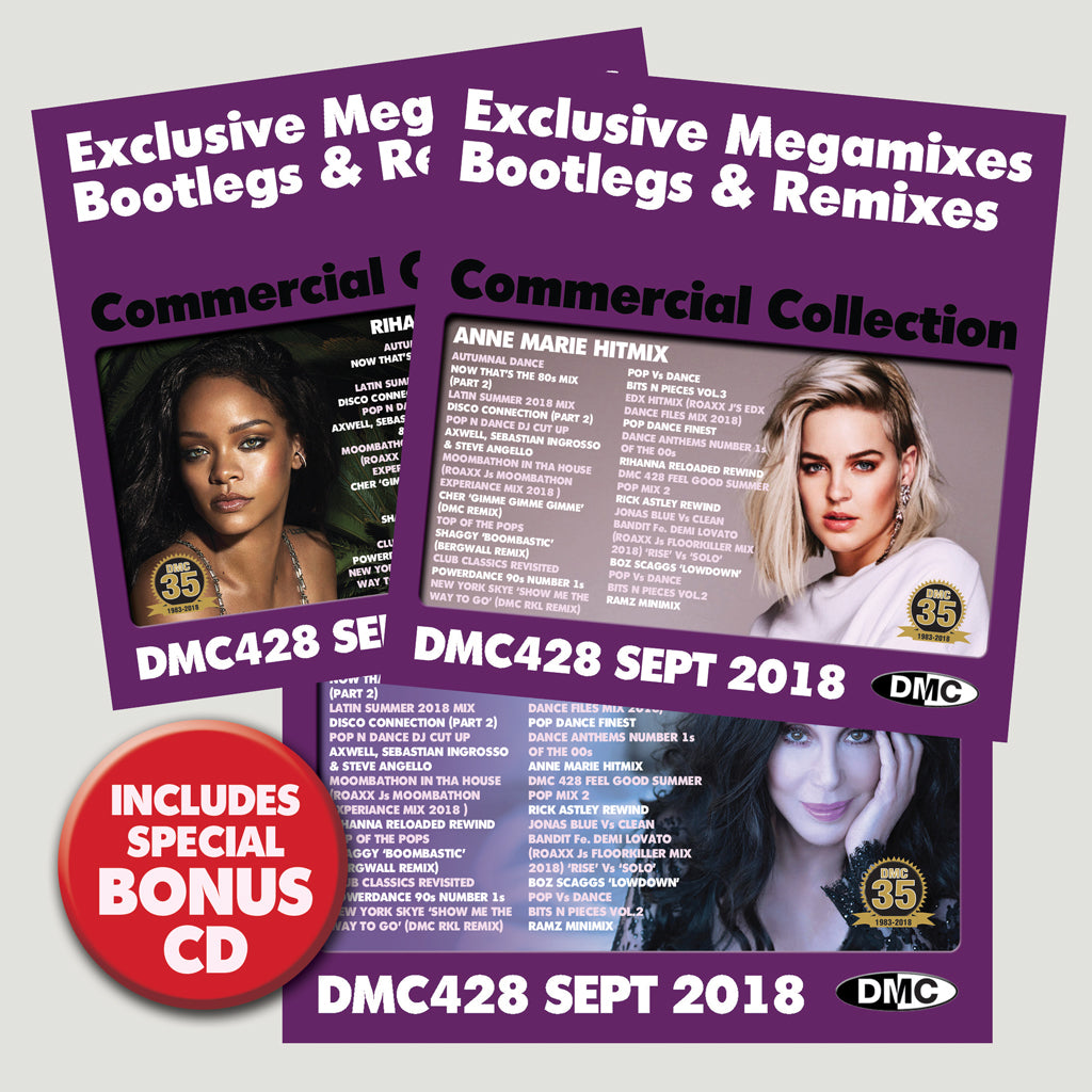 Check Out DMC COMMERCIAL COLLECTION 428 - Three CD Edition - September 2018 - Exclusive Megamixes, Bootlegs & Remixes On The DMC Store
