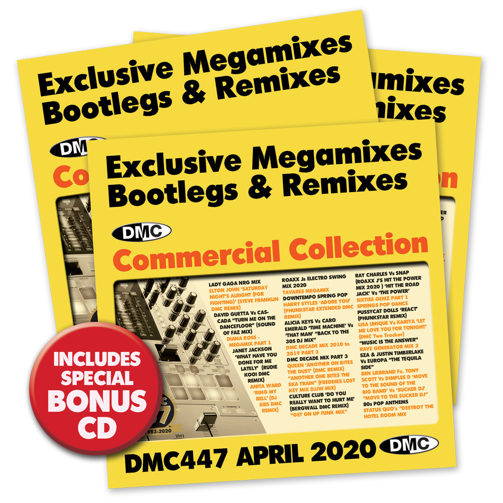 DMC COMMERCIAL COLLECTION 447 - 3 x CD issue of Exclusive Megamixes, Remixes & Two Trackers - April 2020 release