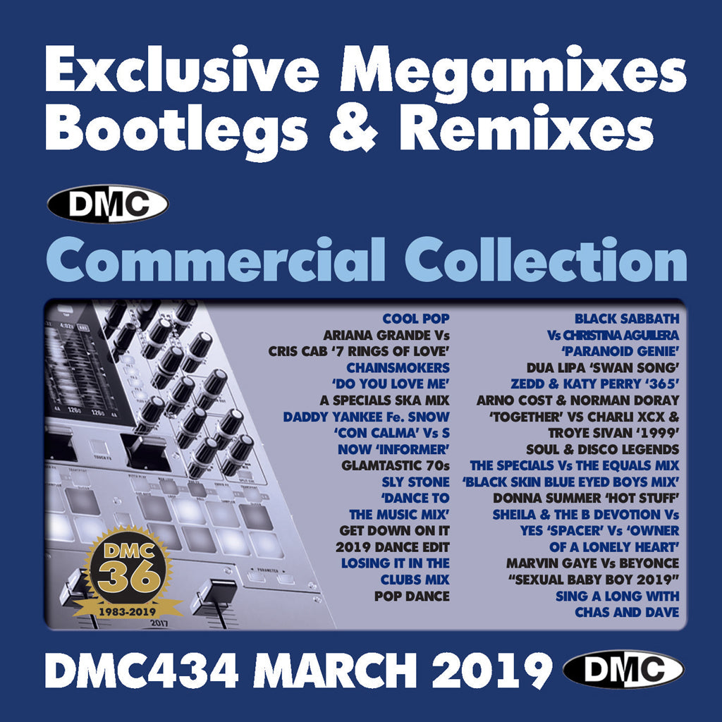 Check Out DMC COMMERCIAL COLLECTION 434  Exclusive Megamixes, Remixes & Two Trackers - March 2019 release On The DMC Store