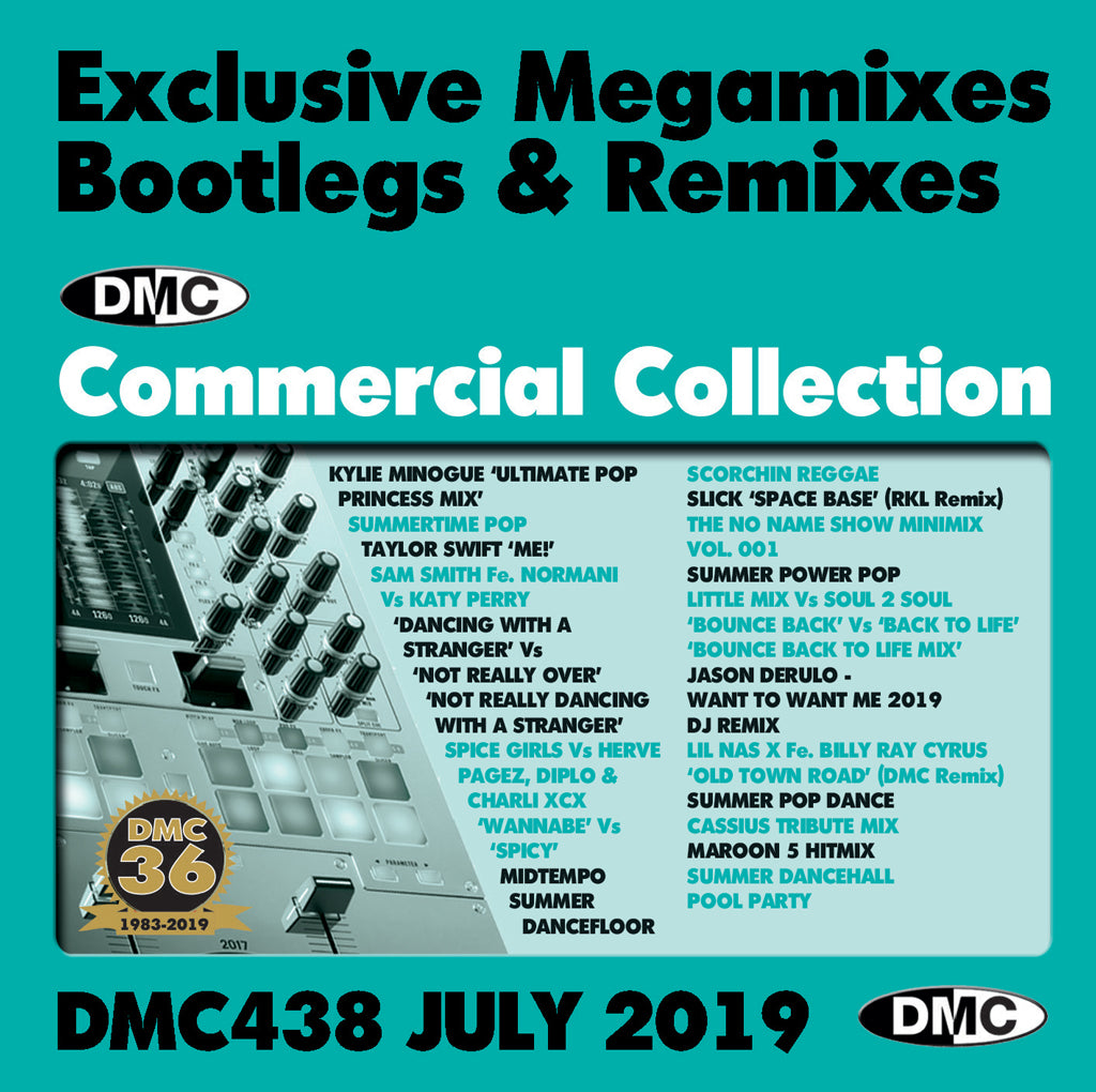 Check Out DMC COMMERCIAL COLLECTION 438  Exclusive Megamixes, Remixes & Two Trackers  (2 x cd) - July 2019 release On The DMC Store