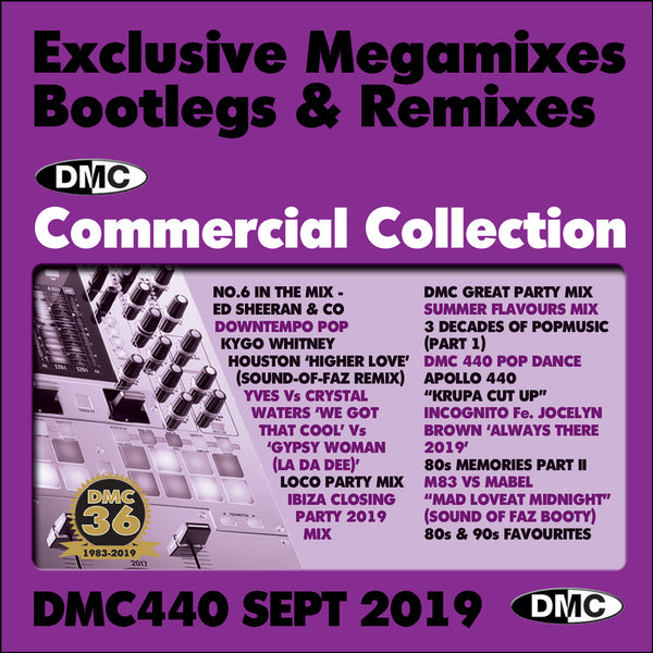 DMC COMMERCIAL COLLECTION 440  Exclusive Megamixes, Remixes & Two Trackers  (2 x CD) - September 2019 release