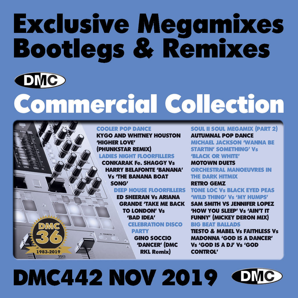 DMC COMMERCIAL COLLECTION 442  - Exclusive Megamixes, Remixes & Two Trackers (2 x cd) - November 2019