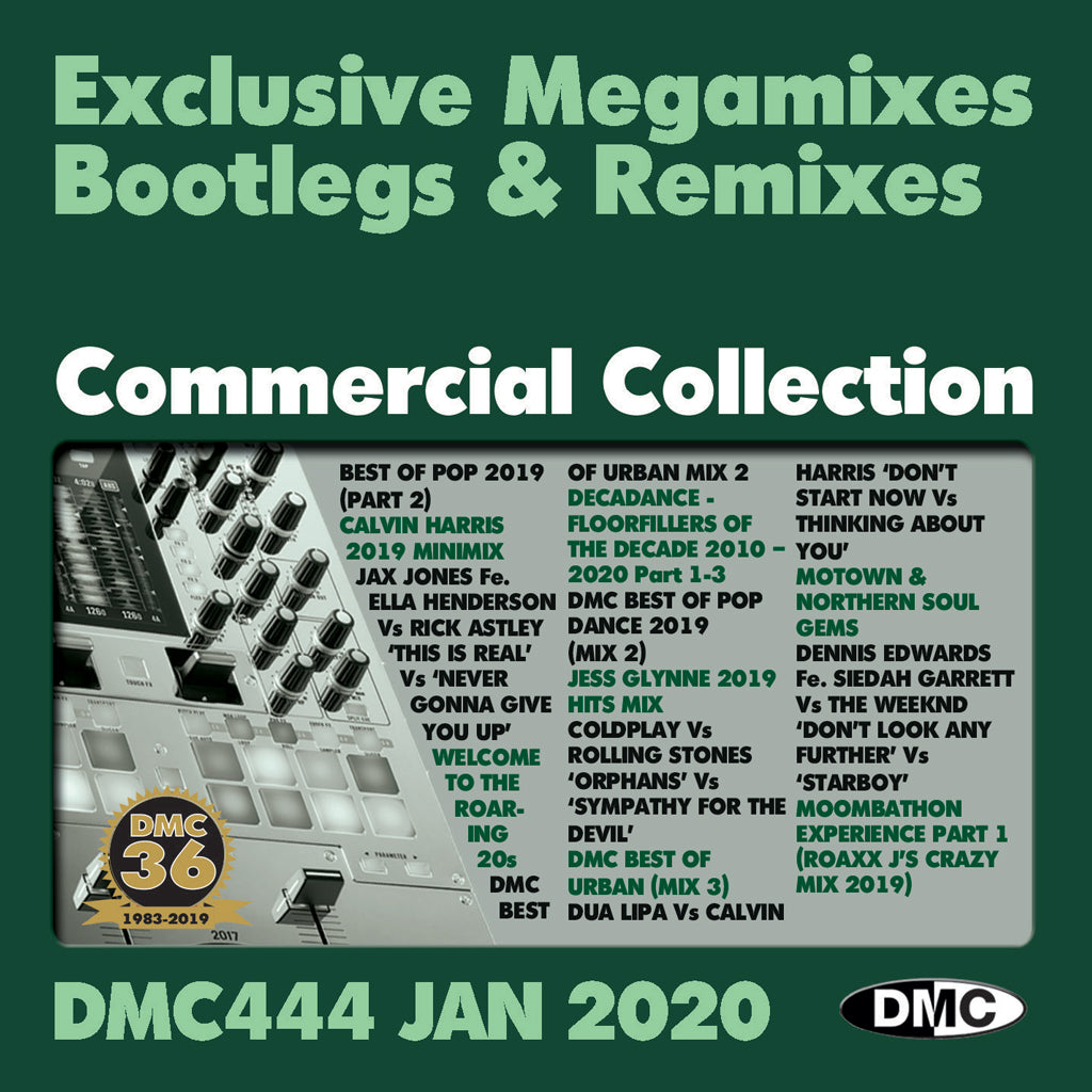 DMC COMMERCIAL COLLECTION 444 - Double CD of Mixes, Remixes, Two Trackers - January 2020