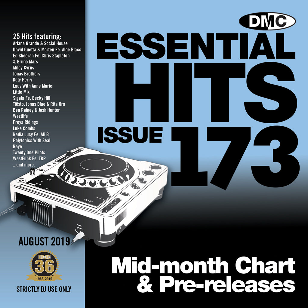 Check Out ESSENTIAL HITS 173 (Unmixed) - Essential chart & pre-releases for djs - August 2019 On The DMC Store