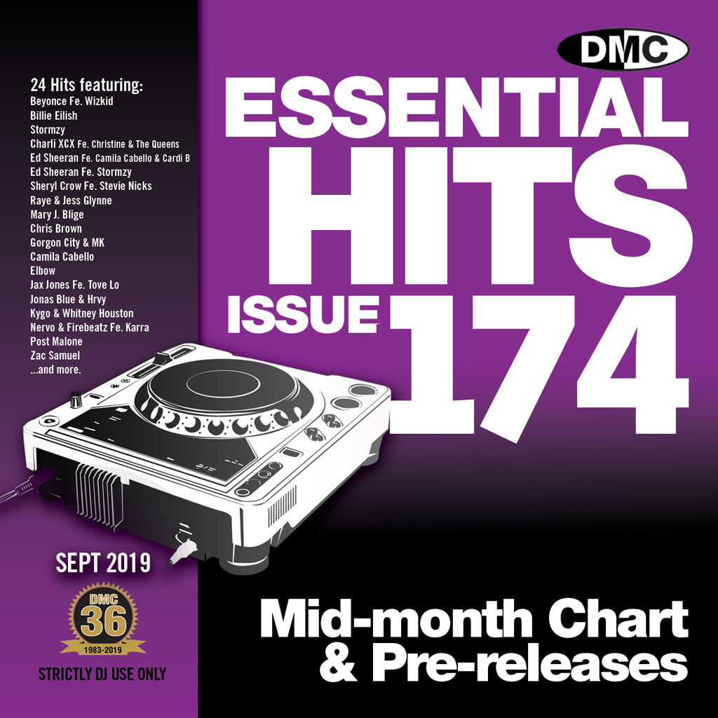 Check Out ESSENTIAL HITS 174 (Unmixed) - Essential chart & pre-releases - September 2019 On The DMC Store