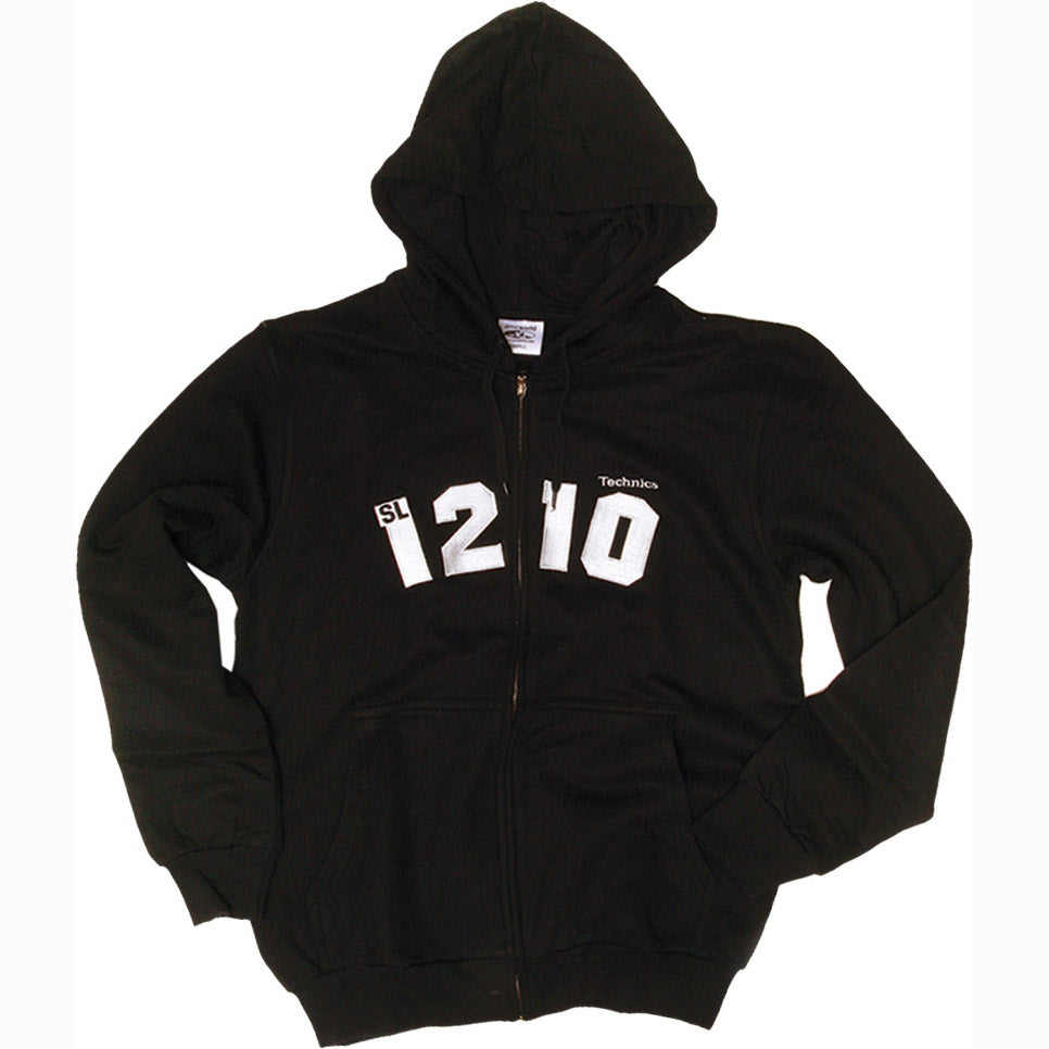 Technics 1210 Zip Hoody in black (silver embroidered logo)