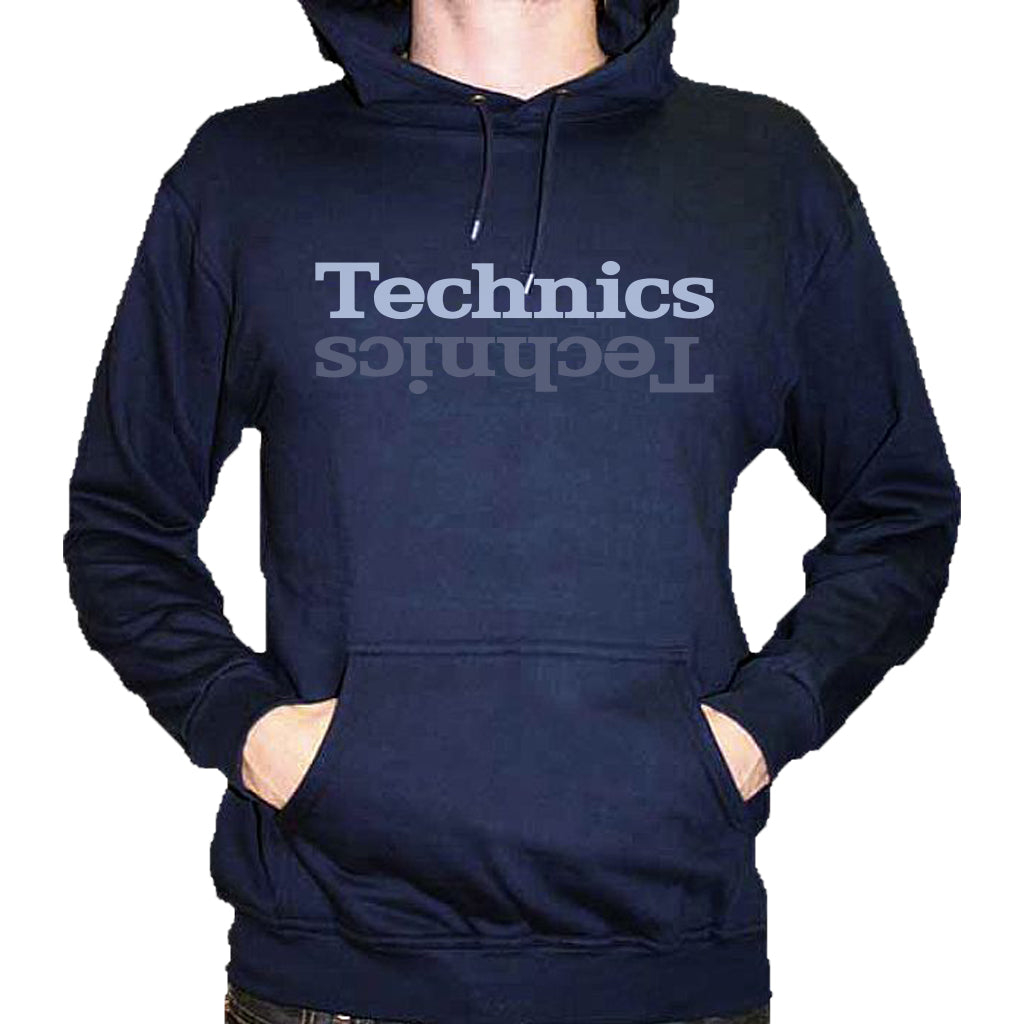 Check Out Technics Hoody from DMC in navy blue (grey/silver print) On The DMC Store