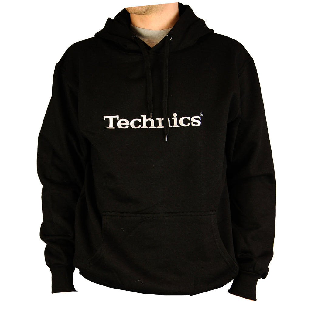 Technics Black Hoody with silver embroidered logo