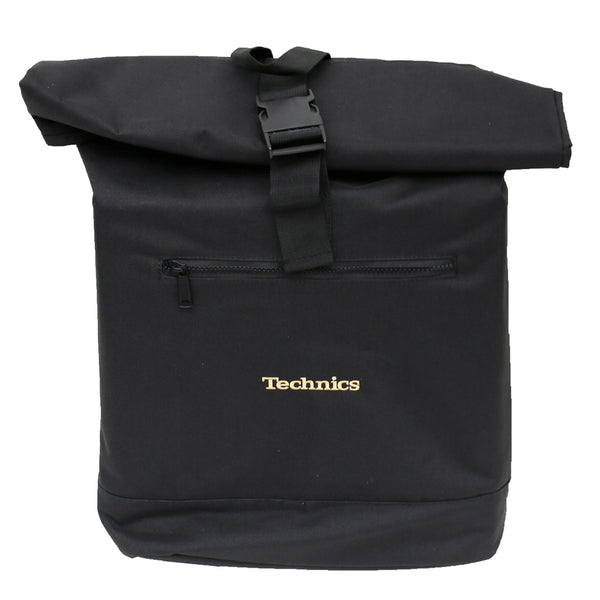 Technics Roll Top Backpack (vinyl/laptop) Gold embroidery
